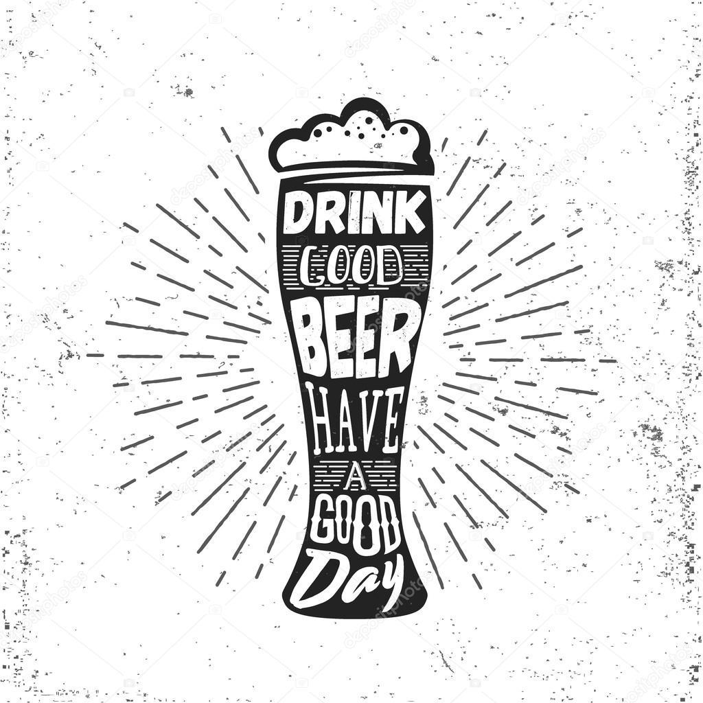 1024x1024 Hand Drawn Vintage Label With Beer Bocal, Sunburst And Lettering