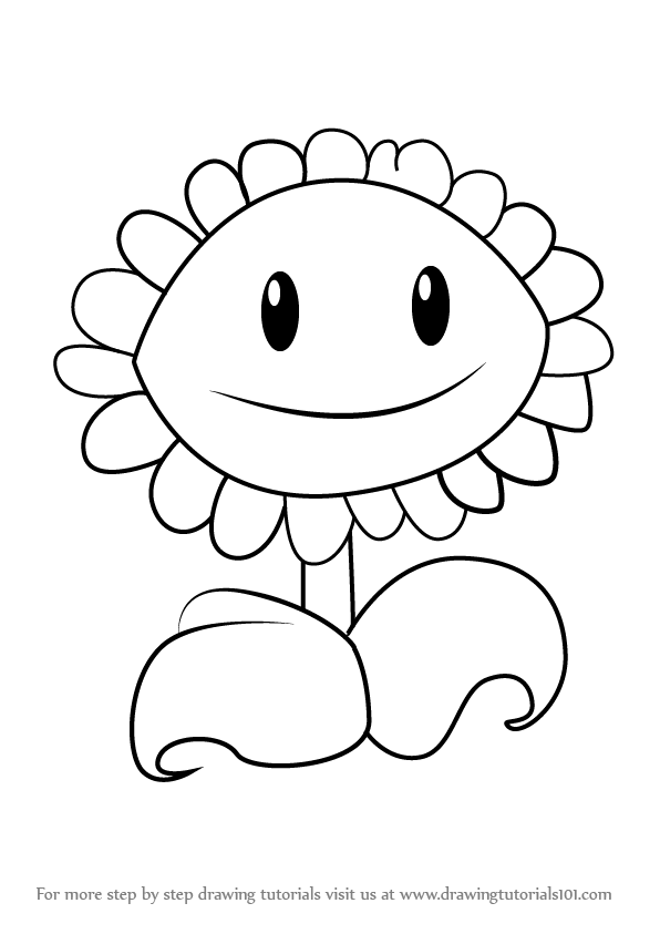 596x843 Learn How To Draw Sunflower From Plants Vs. Zombies (Plants Vs