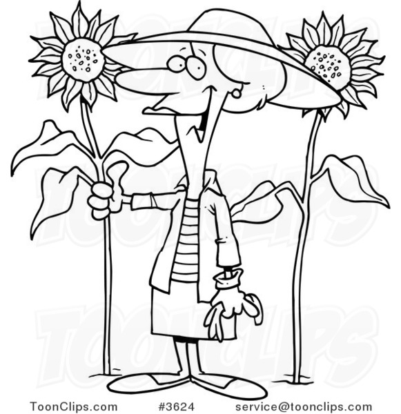 581x600 Cartoon Black And White Line Drawing Of A Green Thumb Lady In Her