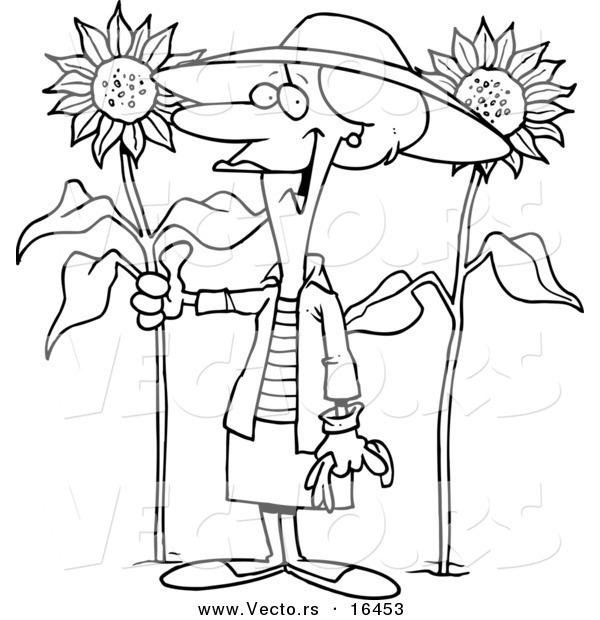 600x620 Vector Of A Cartoon Green Thumb Girl In Her Sunflower Gardener