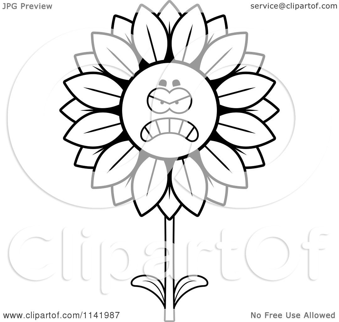 1080x1024 Cartoon Clipart Of A Black And White Mad Sunflower Character