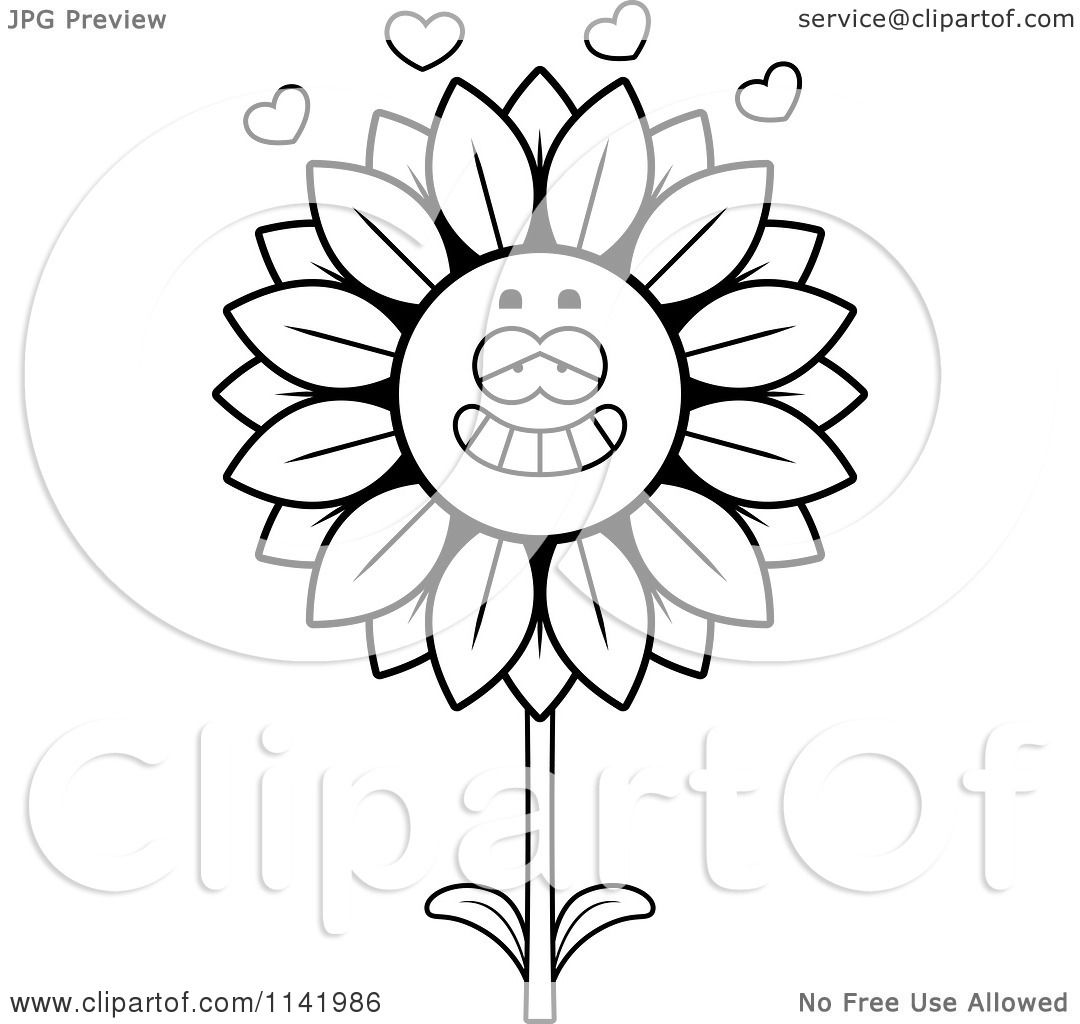 1080x1024 Cartoon Clipart Of A Black And White Sunflower Character In Love