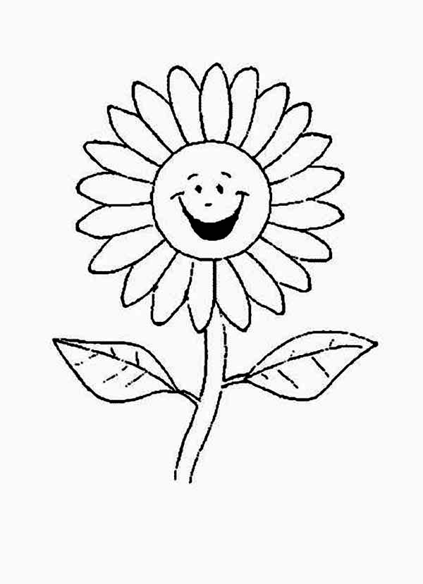 600x829 Cartoon Of Laughing Daisy Flower Coloring Page