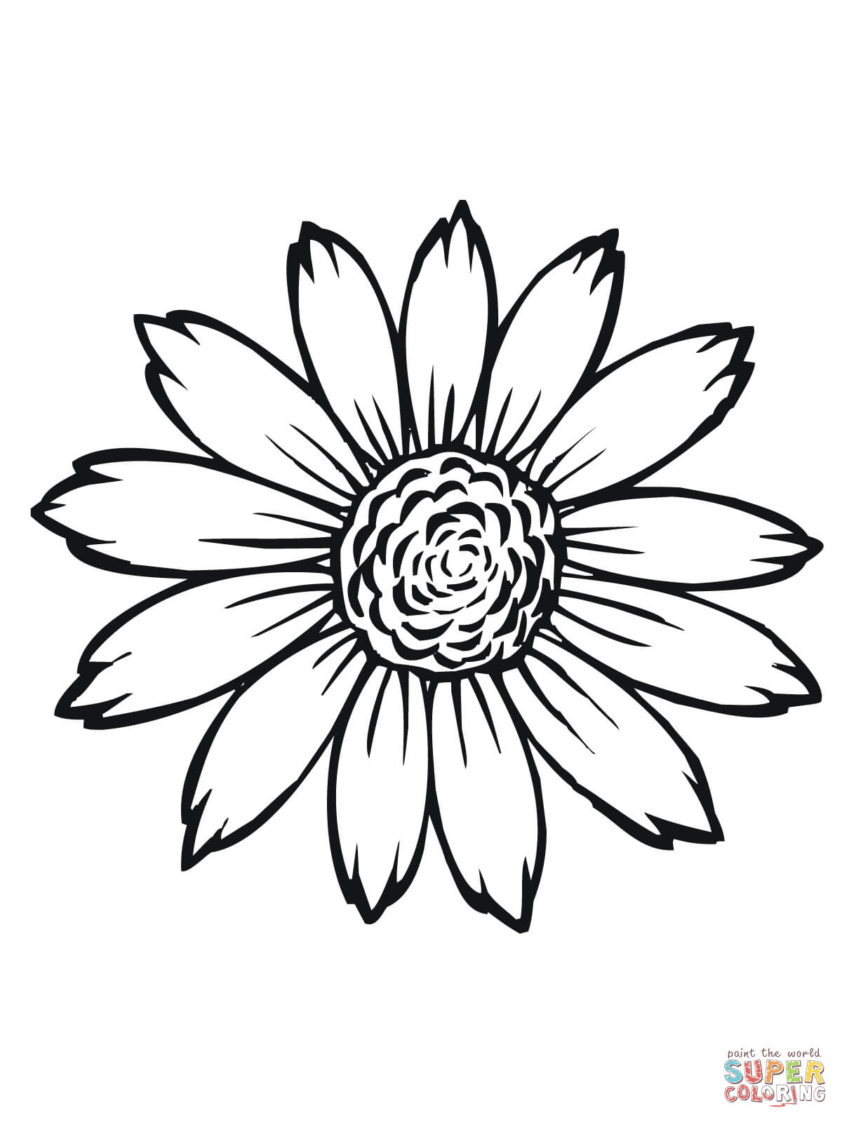 1200x1600 Flowering Head Of Sunflower Coloring Page Free Printable