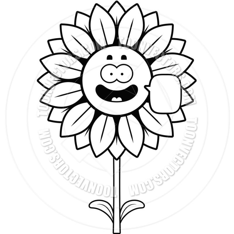 800x800 Sunflower Clipart Black And White