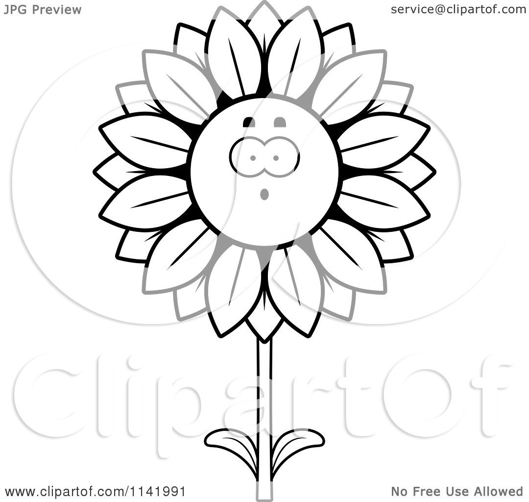 1080x1024 Cartoon Clipart Of A Black And White Surprised Sunflower Character