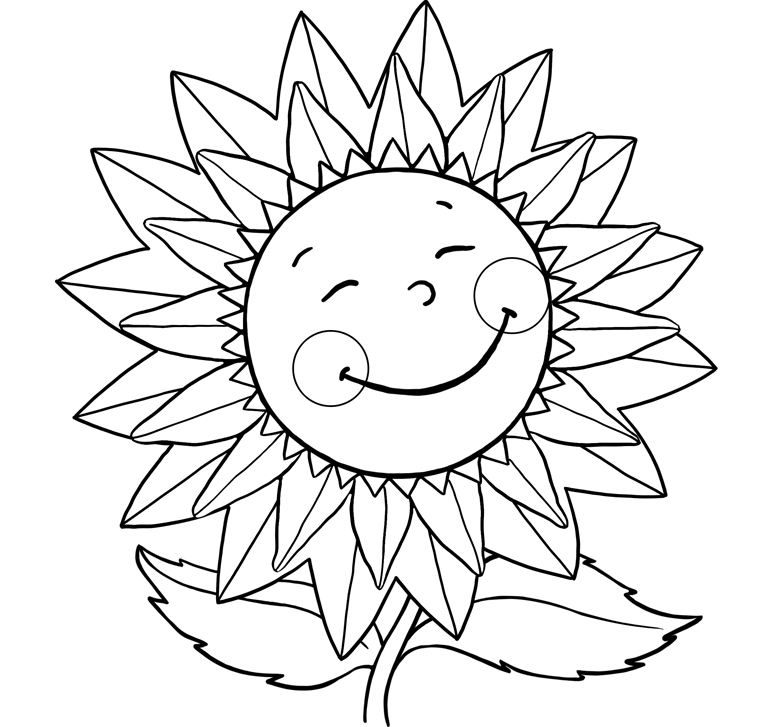 beautiful simple sunflower coloring pages pictures