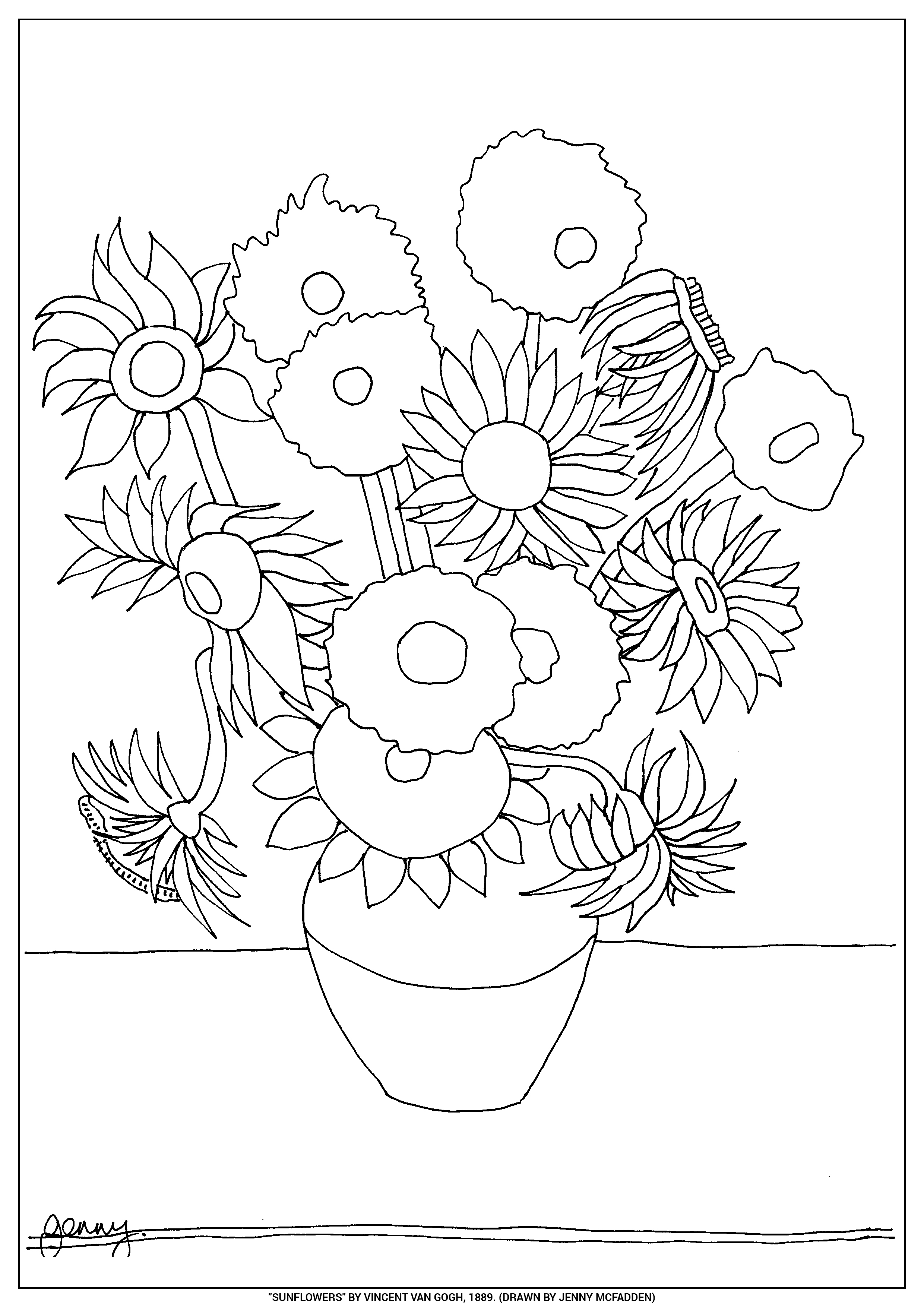 van goghs sunflowers coloring pages | Sunflower Drawing Template at GetDrawings.com | Free for ...