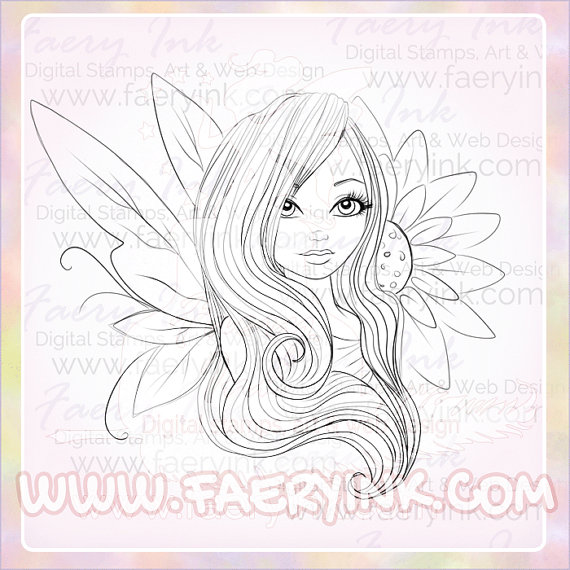 570x570 Shy Fairy Sunflower Girl Uncolored Digital Stamp Image Adult