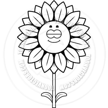 460x460 Sleeping Sunflower (Black And White Line Art) By Cory Thoman