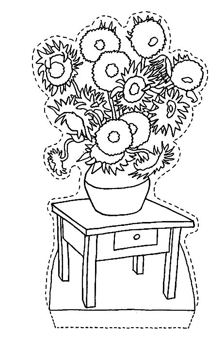 462x720 Sunflower Coloring Page Van Gogh Sunflower Coloring Page Van