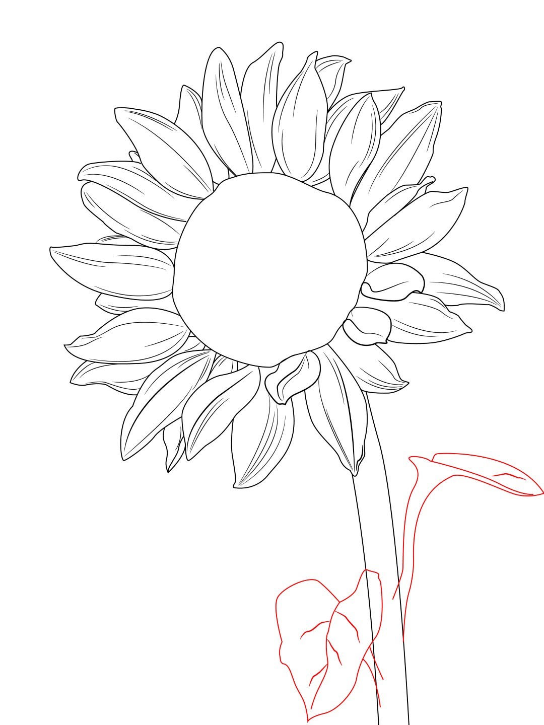 1080x1440 Drawn Sunflower Flower Leaves
