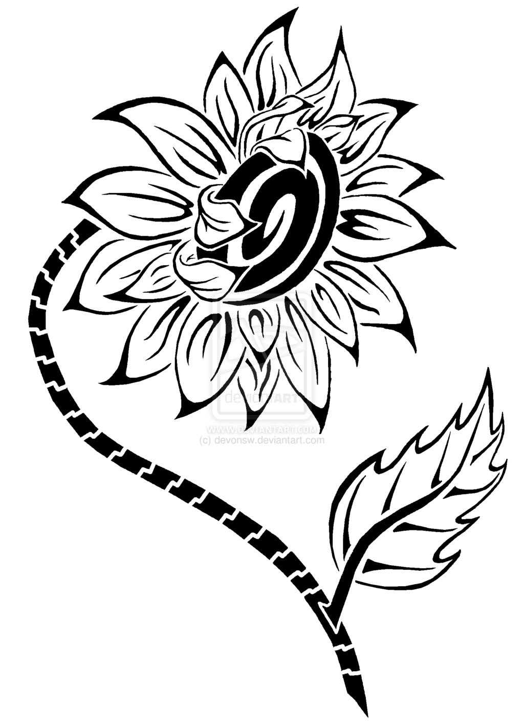 1024x1422 Drawn Sunflower Tribal