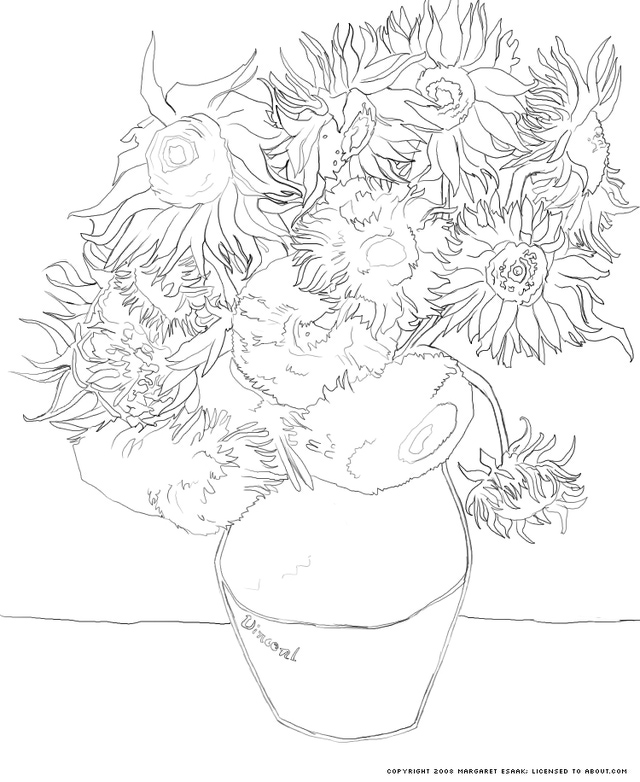 640x782 Free Art History Coloring Pages Art History, Sunflowers And History
