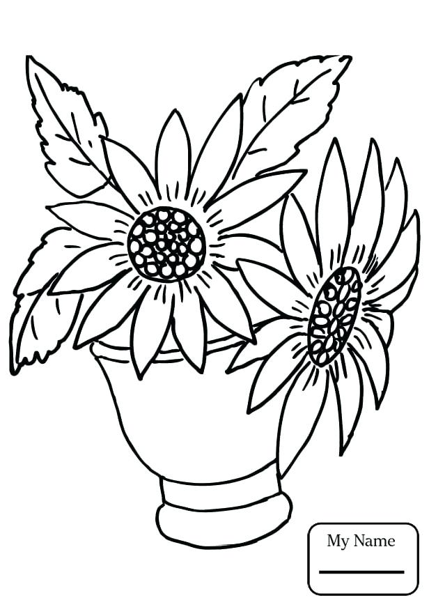 616x871 Realistic Flower Coloring Pages Realistic Sunflowers Flowers