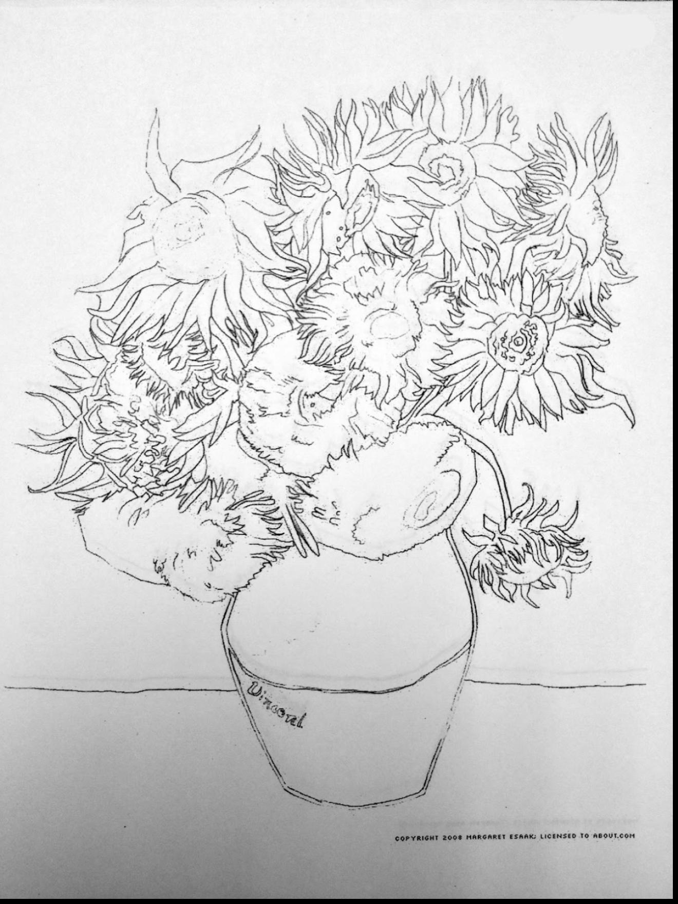 1320x1760 Astounding Sunflower Coloring Page With Van Gogh Coloring Pages