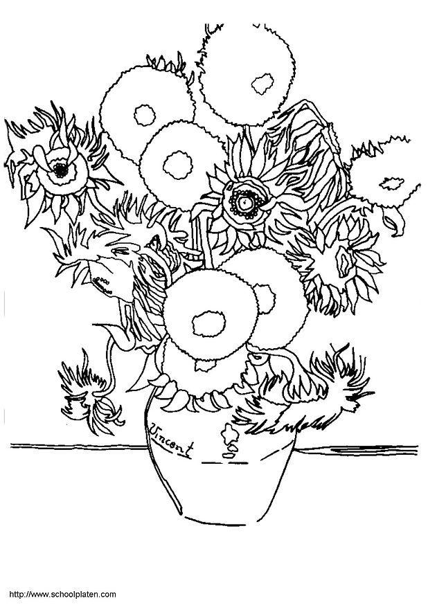 618x874 Coloring Page Sunflowers