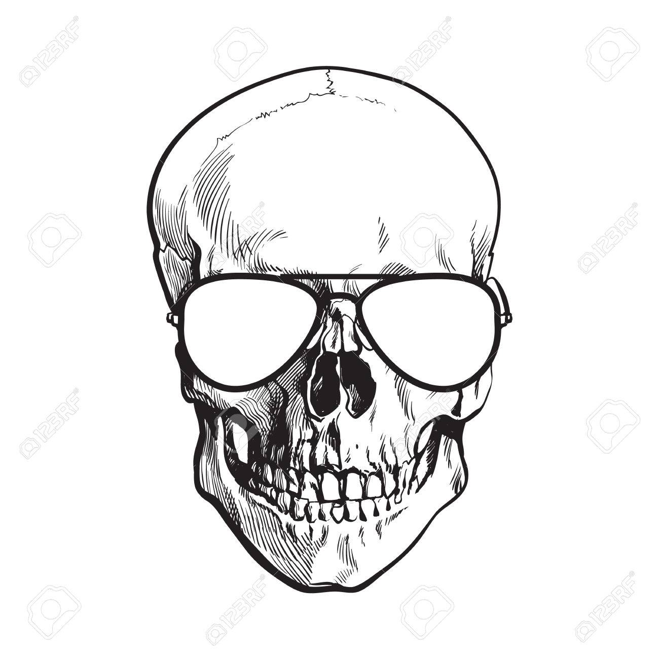 1300x1300 Hand Drawn Human Skull Wearing Black And White Aviator Sunglasses