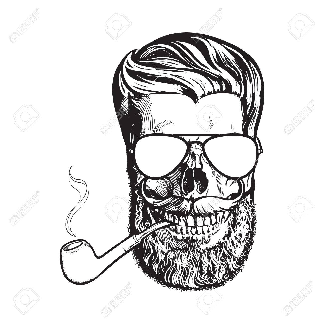 1300x1300 Human Skull With Hipster Beard, Wearing Aviator Sunglasses