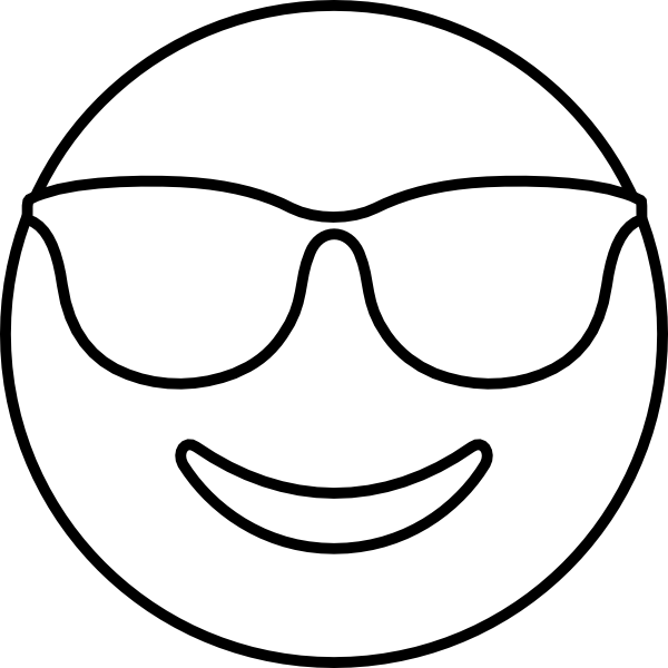 600x600 Liberal Emoji Coloring Pages Smiling Face With Sunglasses