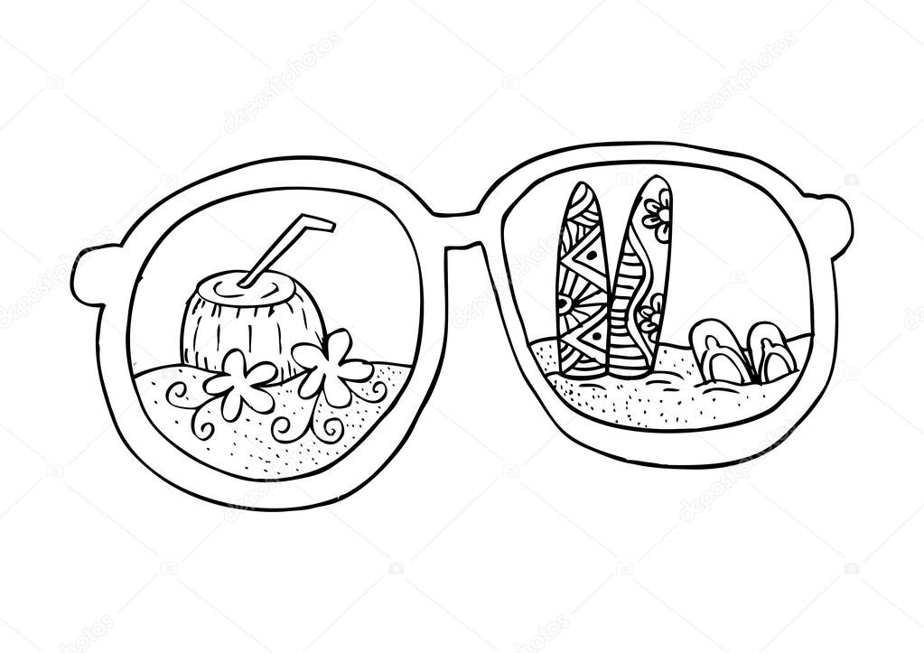 1023x723 Summer Beach, With Sunglasses. Hand Drawing Illustration. Stock