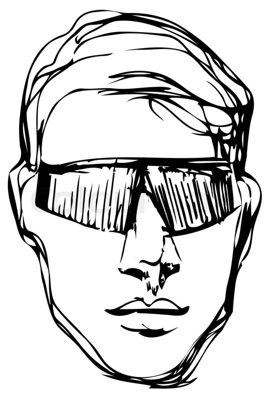 533x800 Black And White Vector Sketch Of A Young Man In Sunglasses Stock