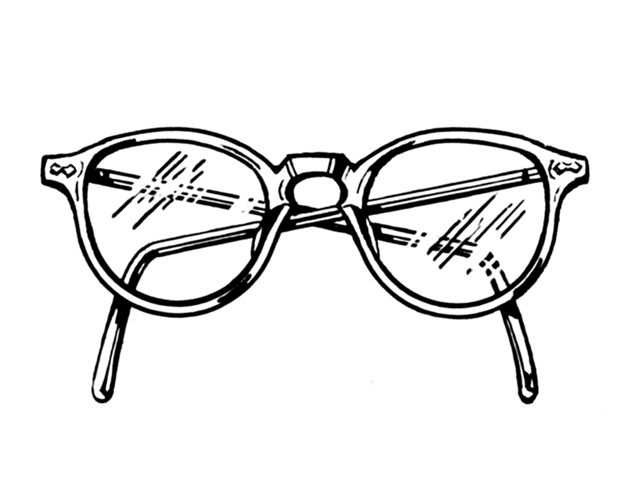 900x675 Old Glasses Drawing