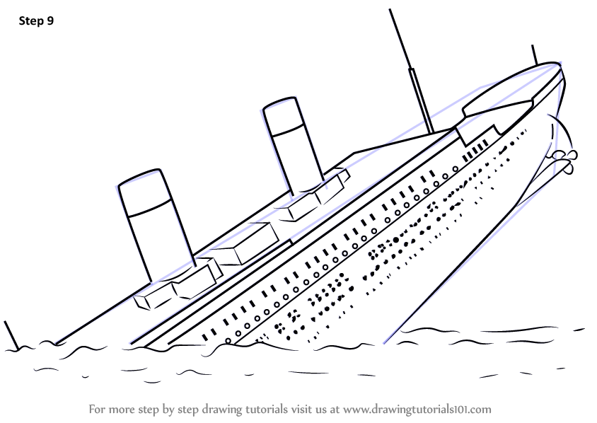 844x598 Learn How To Draw Titanic Sinking (Boats And Ships) Step By Step