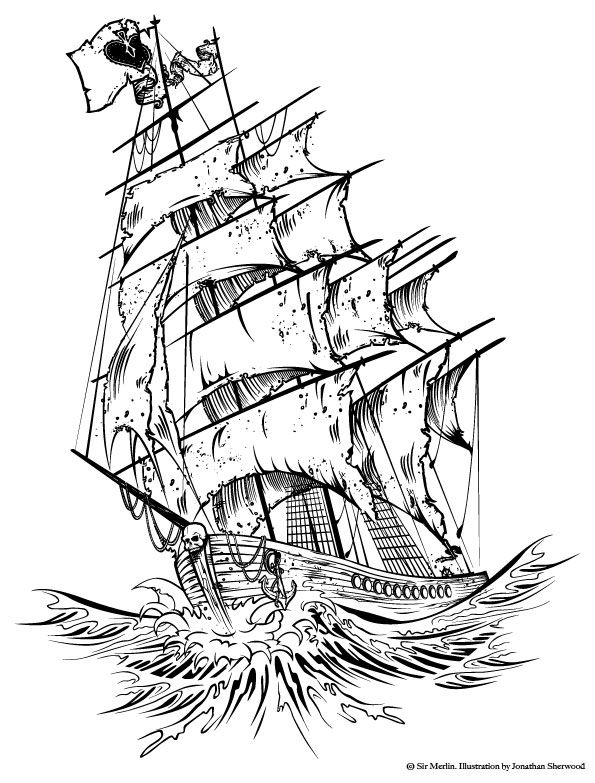 595x783 16 Images Of Coin Pirate Ship Drawing Template