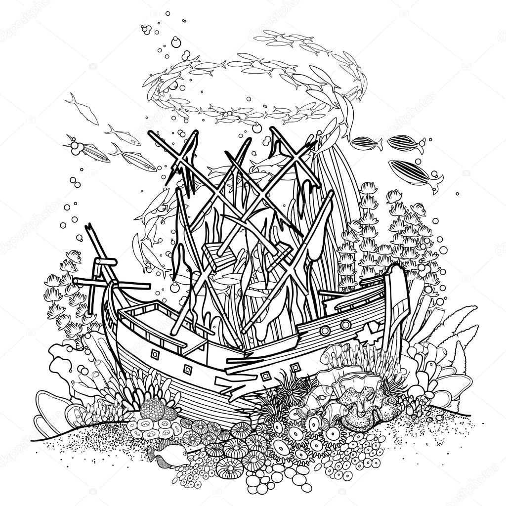 1024x1024 Ancient Sunken Ship And Coral Reef Stock Vector Homunkulus28