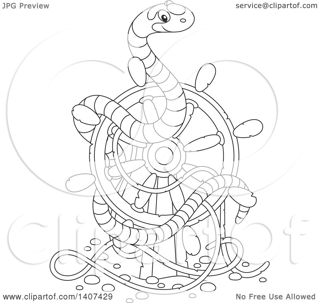 1080x1024 Clipart Of A Black And White Lineart Striped Sea Snake On A Sunken