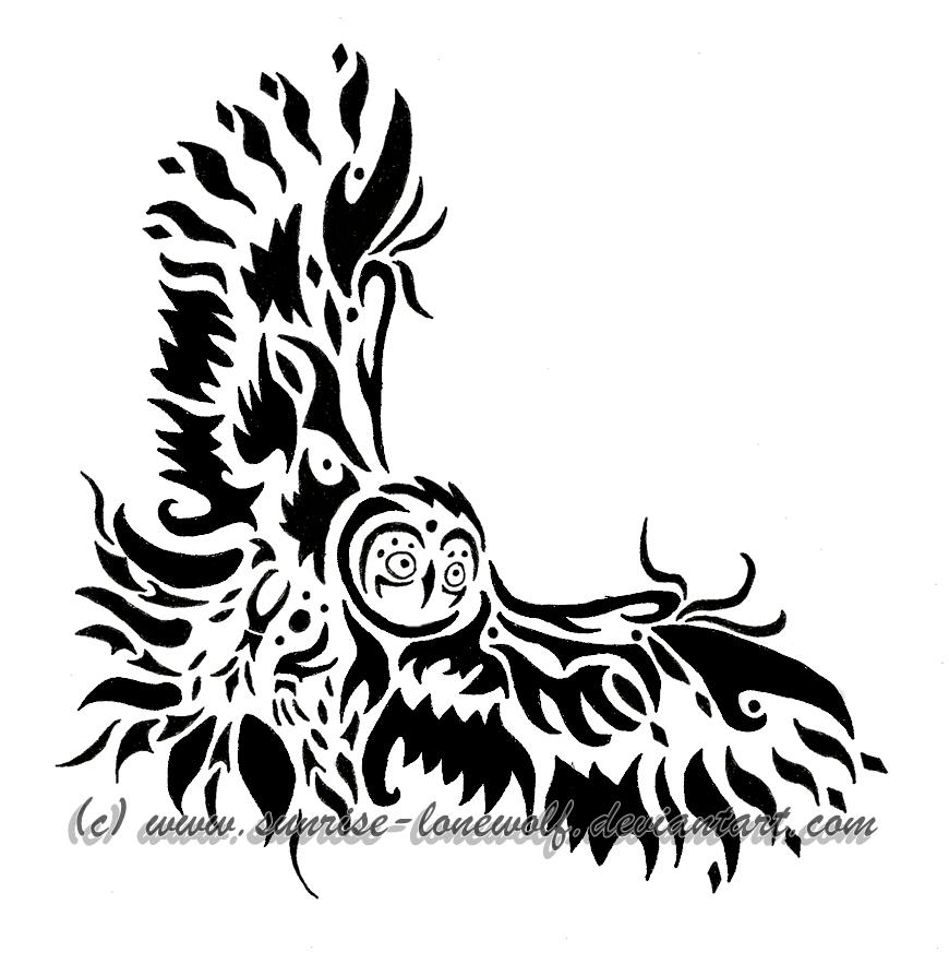 870x883 Tribal Tawny Owl By Sunrise Lonewolf