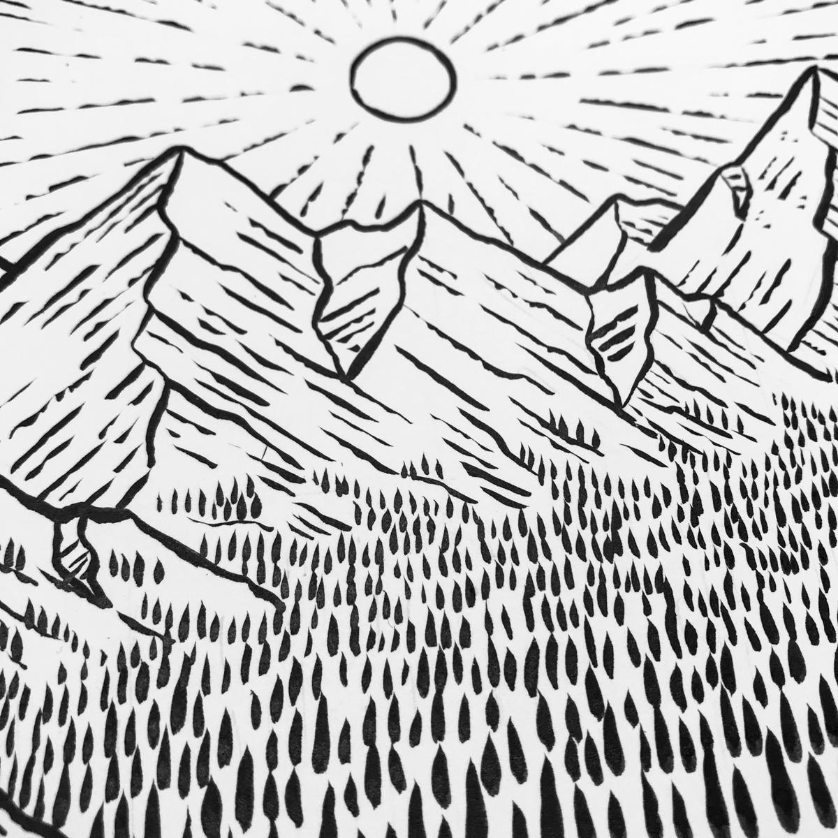 1200x1200 Mountain Sunrise Drawn To Sketching