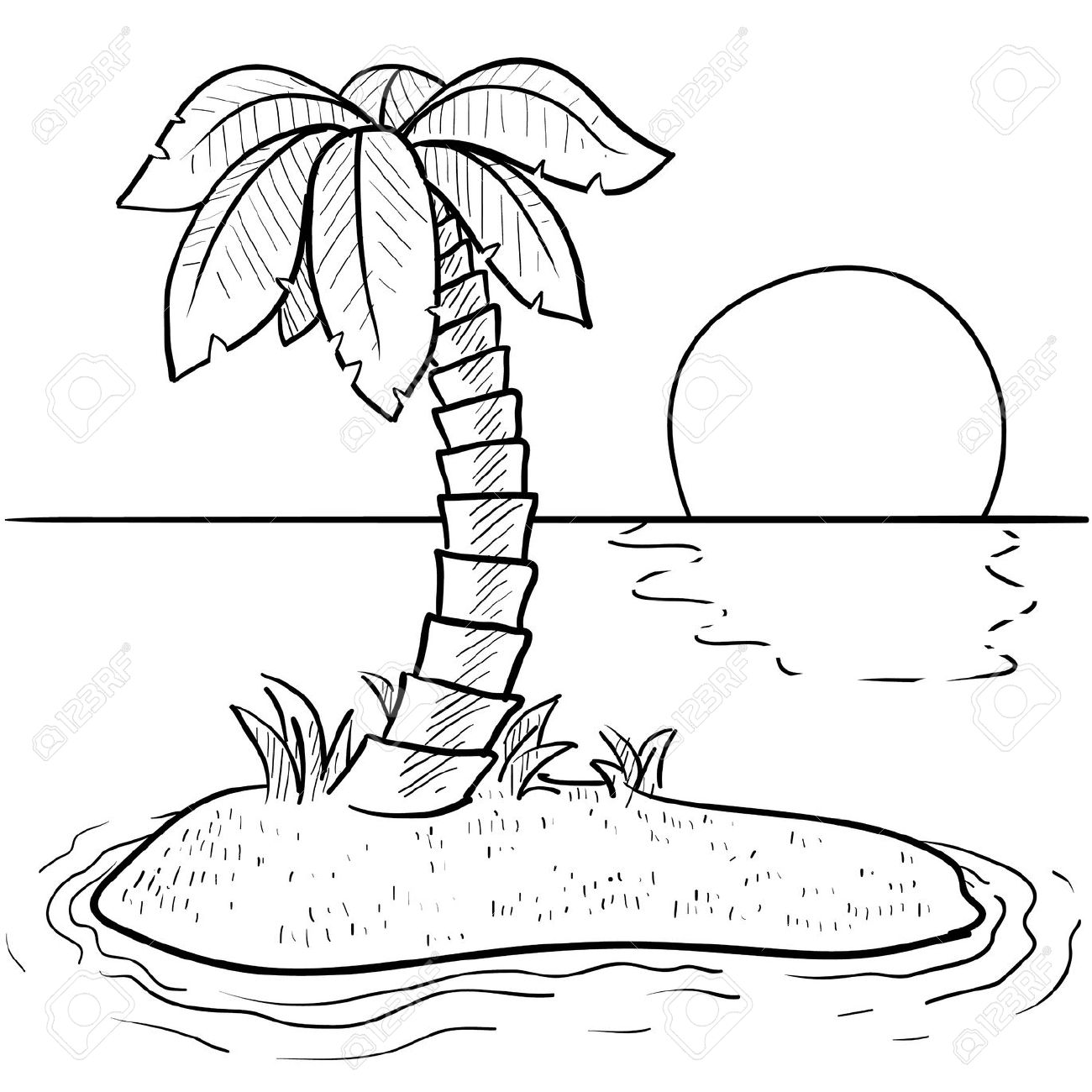 1300x1300 Doodle Style Tropical Or Deserted Island With Palm Tree And Sunset