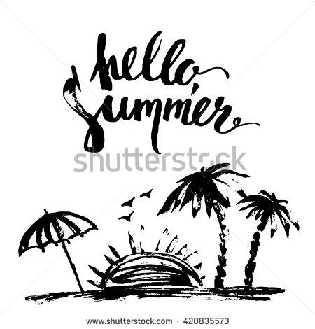 450x470 Hand Drawn Ink Summer Design. Summer Print With Beach Scene, Palm