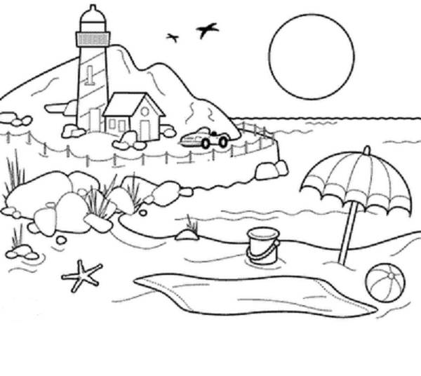 600x536 Beach Sunset Coloring Pages Girls And Boys Pictures