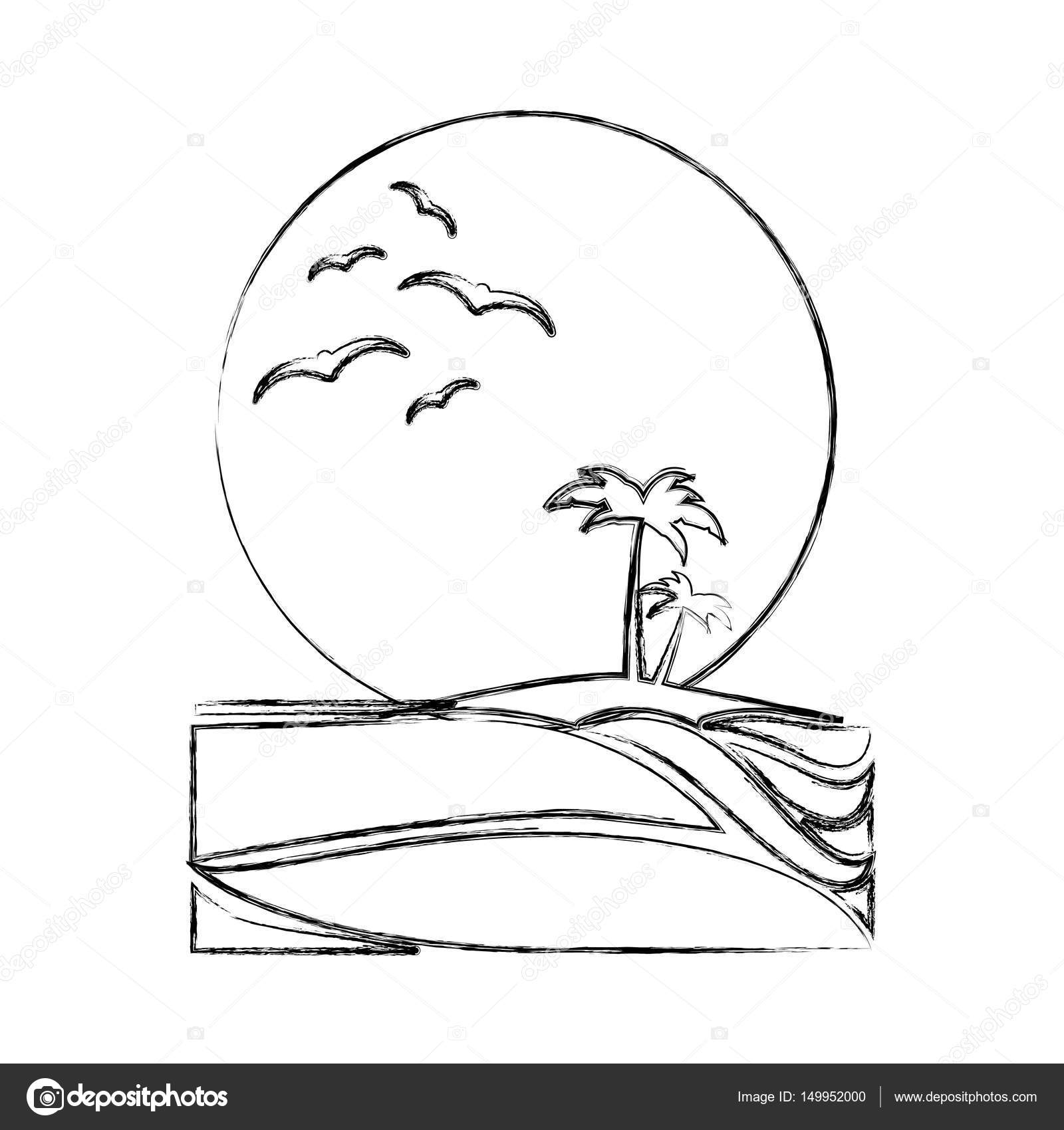 1600x1700 Monochrome Background Contour Of Sunset In The Beach With Palms