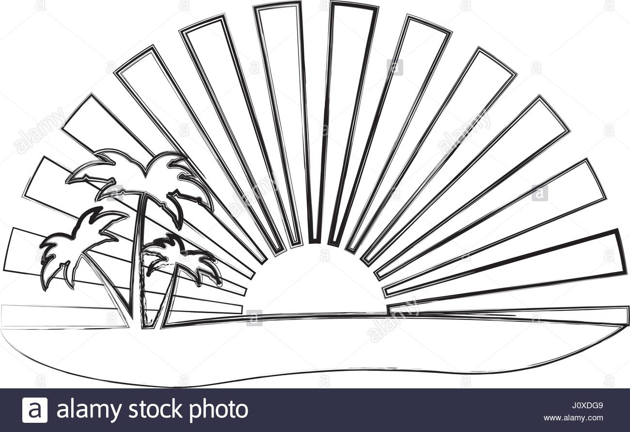 1300x891 Monochrome Contour Of Sunset With Beach And Palms Stock Vector Art