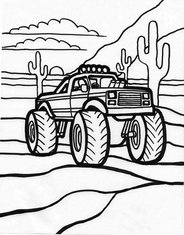 600x769 Monster Truck, Monster Truck And Sunset Coloring Page Coloring