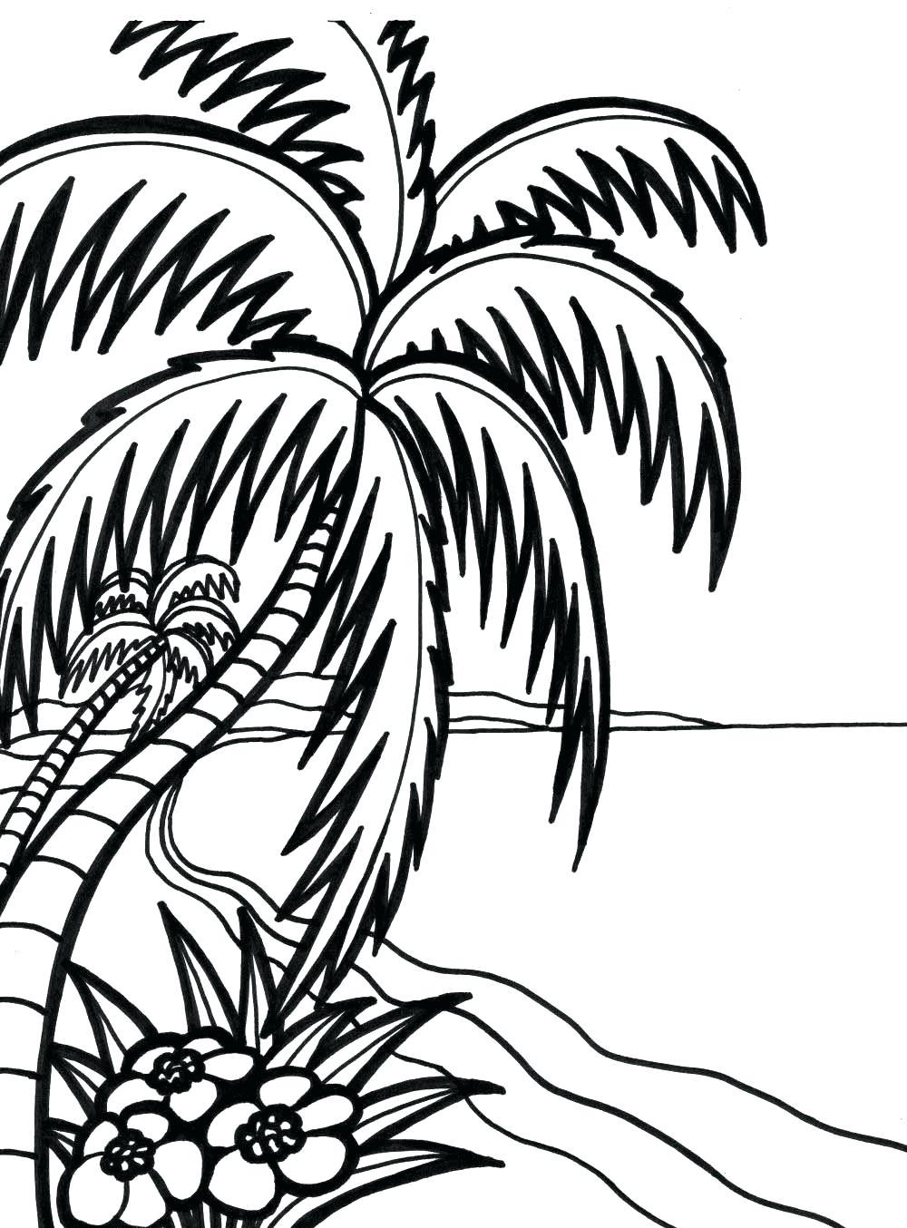 1000x1354 Coloring Tropical Coloring Pages Drawn Sunset Page Rainforest