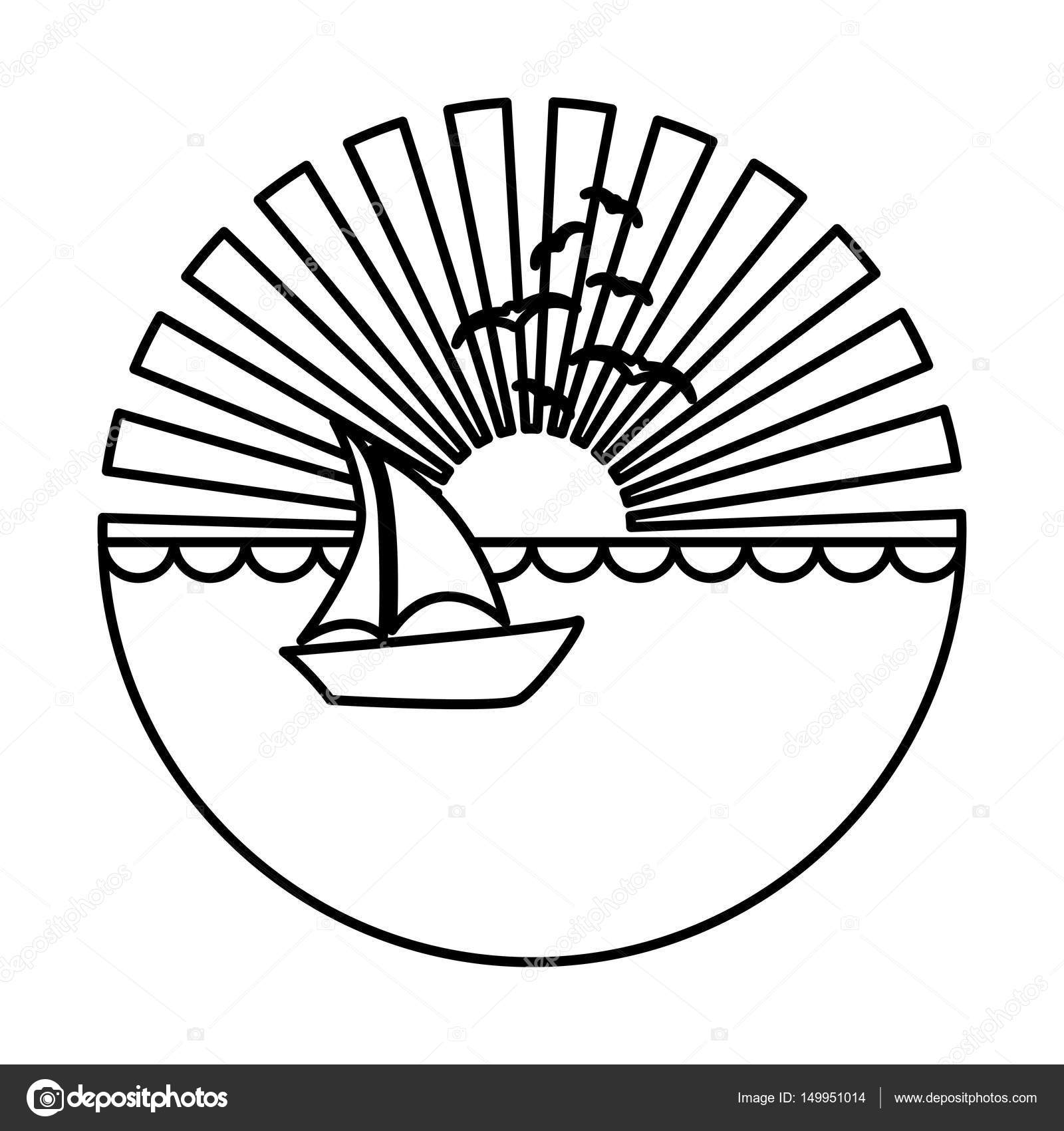 1600x1700 Silhouette Circular Background Sunset In The Ocean With Boat Over