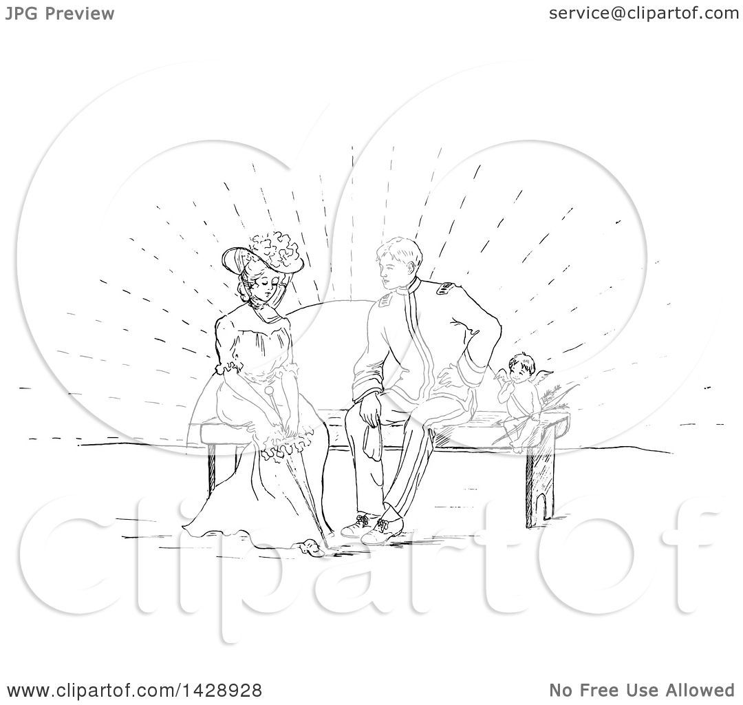 1080x1024 Clipart Of A Vintage Black And White Sketched Cherub And Couple