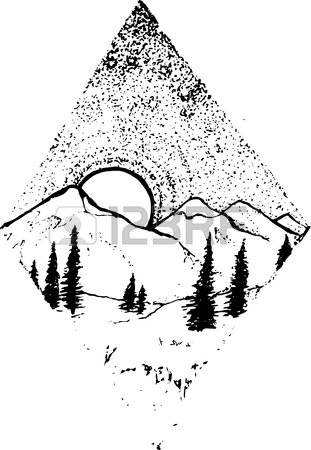311x450 Illustration Of Mountains, Trees, Sunset Or Sunrise In A Rhombus