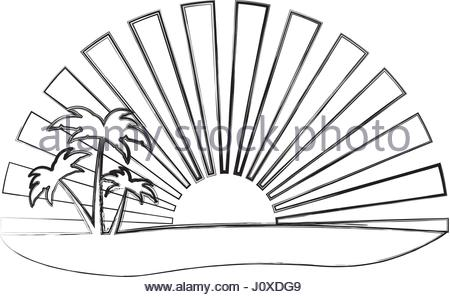 450x297 Palms And Sun, Tropical Sunset Vector Background Landscape Stock