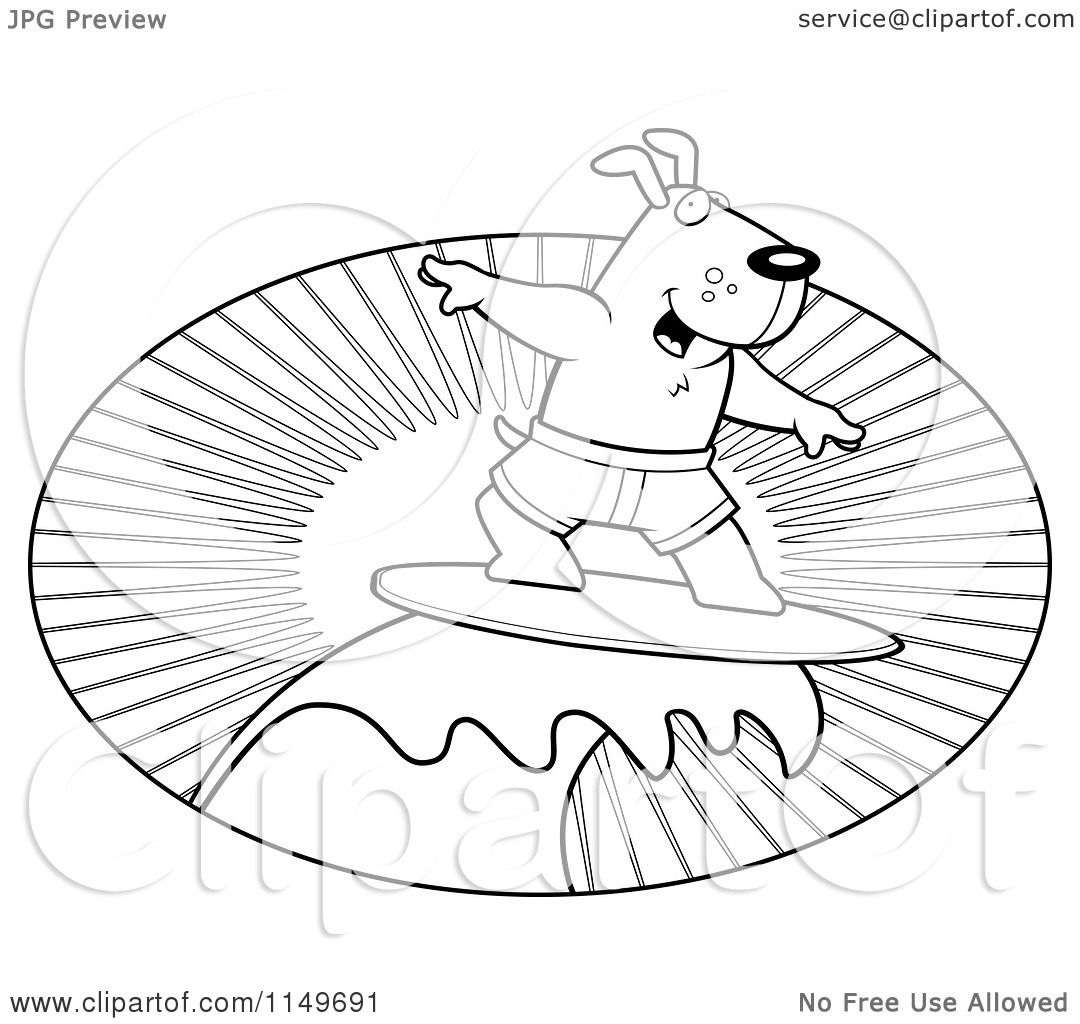 1080x1024 Cartoon Clipart Of A Black And White Surfer Dog Riding A Wave