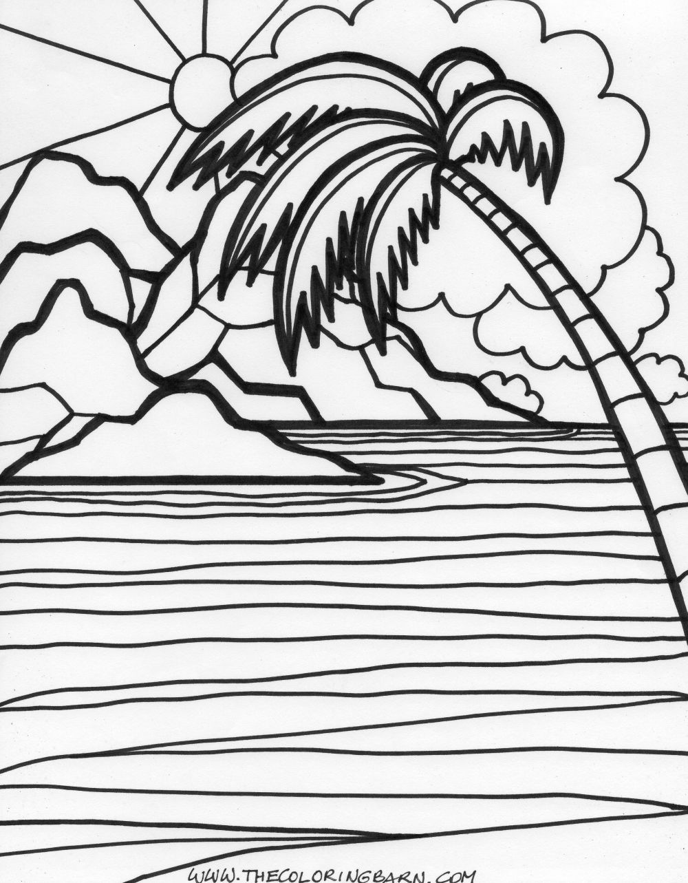 1000x1283 Sunset Coloring Pages