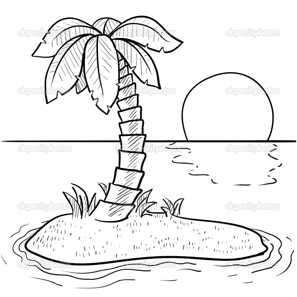 1024x1024 Tropical Sunset Coloring Pages