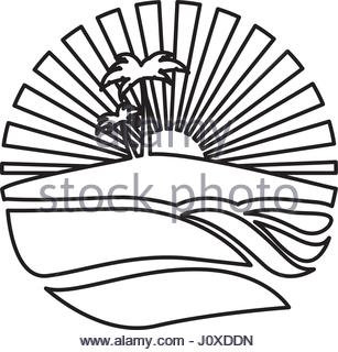 307x320 Sketch Silhouette Sunset With Beach And Palms Stock Vector Art