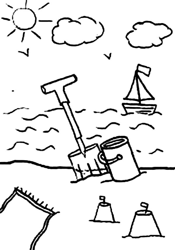 600x855 A Kids Drawing Of Beach Activity Coloring Page