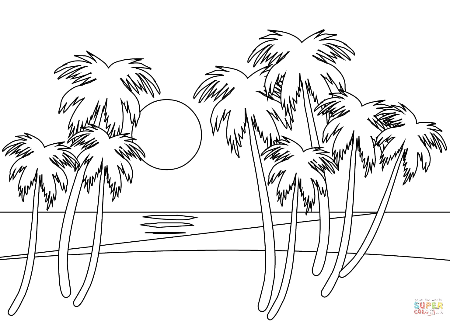1479x1058 Tropical Beach Coloring Page Within Glum Me Picturesque Sunset
